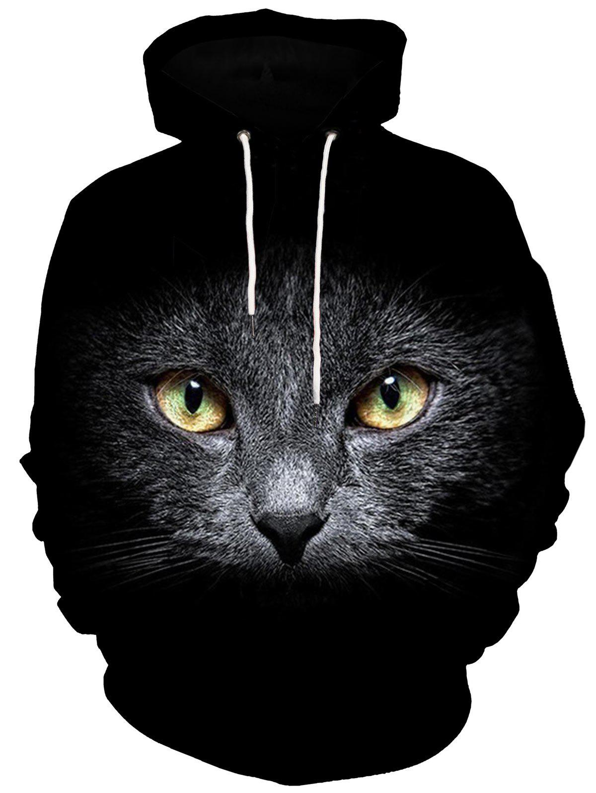 Kangaroo Pocket 3D Cat Face Print HoodieMEN<br><br>Size: 3XL; Color: BLACK; Material: Polyester,Spandex; Clothes Type: Hoodie; Shirt Length: Regular; Sleeve Length: Full; Style: Casual; Patterns: Animal; Thickness: Regular; Occasion: Casual; Weight: 0.5200kg; Package Contents: 1 x Hoodie;
