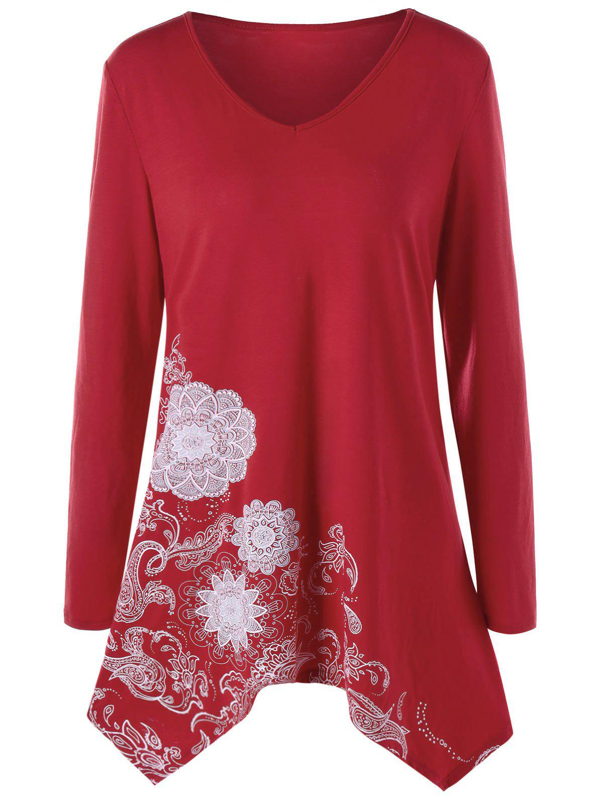 Plus Size Paisley Long Sleeve V Neck TeeWOMEN<br><br>Size: 5XL; Color: WINE RED; Material: Polyester,Spandex; Shirt Length: Long; Sleeve Length: Full; Collar: V-Neck; Style: Casual; Season: Fall,Spring; Pattern Type: Paisley; Weight: 0.3100kg; Package Contents: 1 x Top;