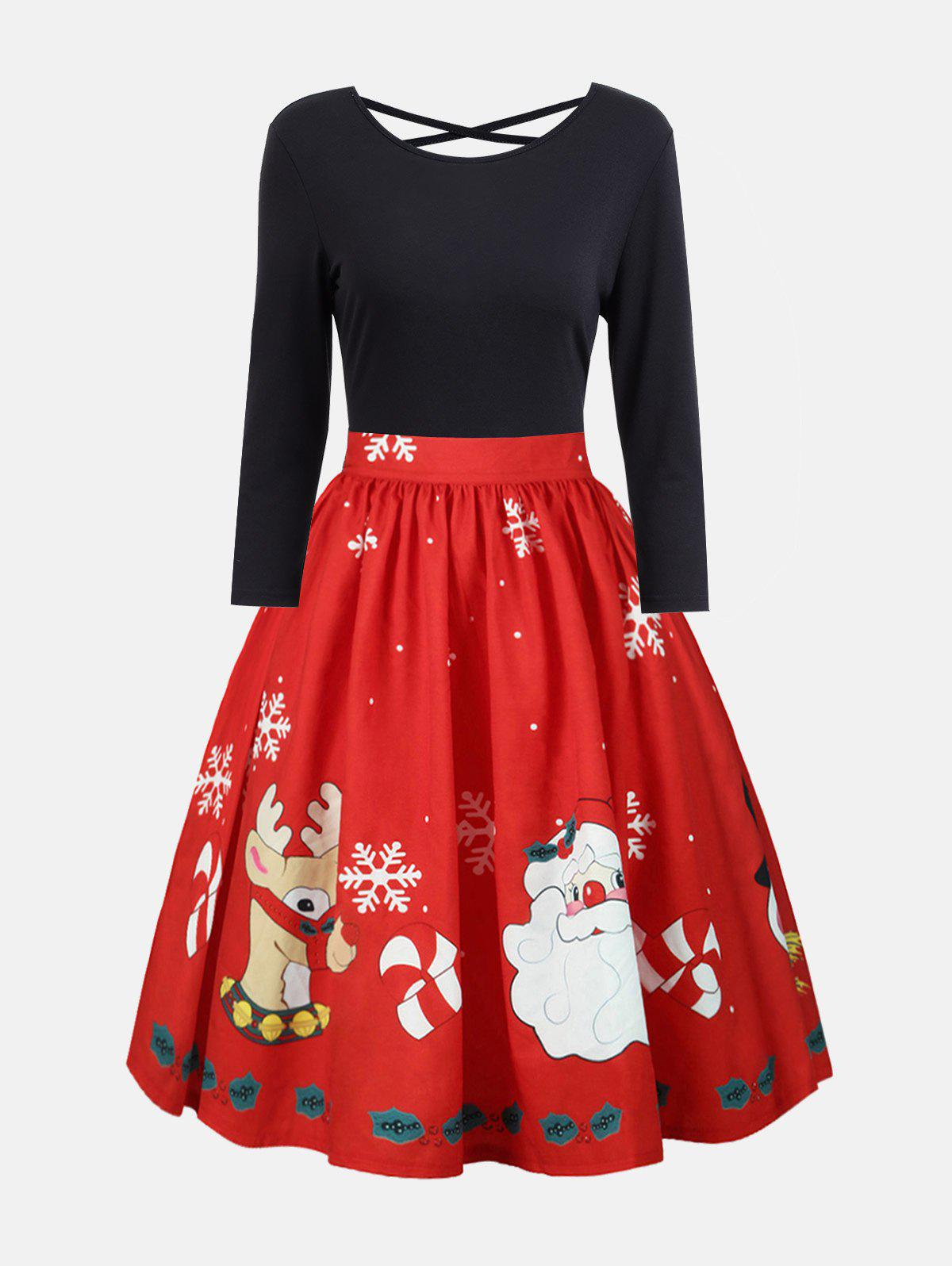 Plus Size Christmas Criss Cross Print DressWOMEN<br><br>Size: XL; Color: RED; Style: Vintage; Material: Polyester; Silhouette: A-Line; Dresses Length: Mid-Calf; Neckline: Round Collar; Sleeve Length: Long Sleeves; Embellishment: Criss-Cross; Pattern Type: Print; With Belt: No; Season: Fall,Spring; Weight: 0.2700kg; Package Contents: 1 x Dress;