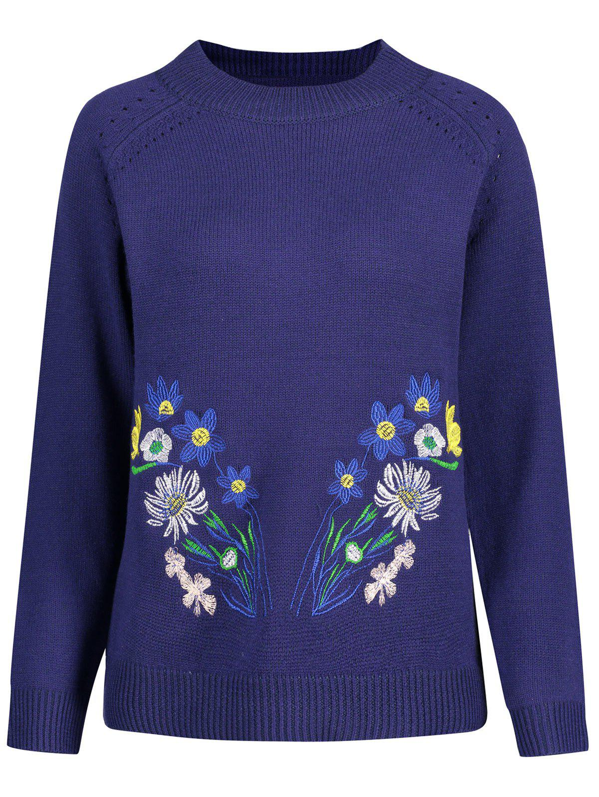 Trendy Openwork Plus Size High Neck Floral Embroidered Sweater