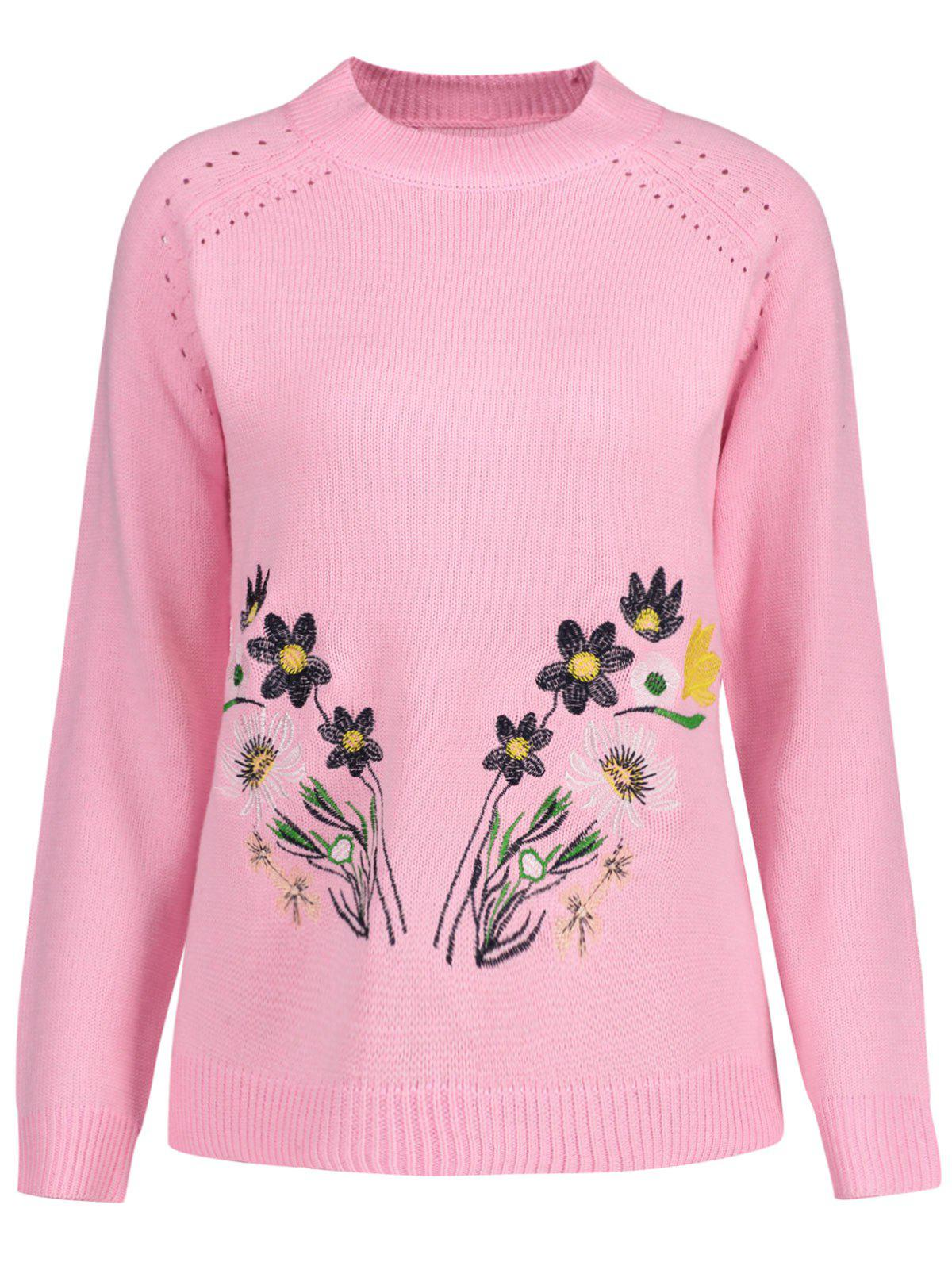 Latest Openwork Plus Size High Neck Floral Embroidered Sweater