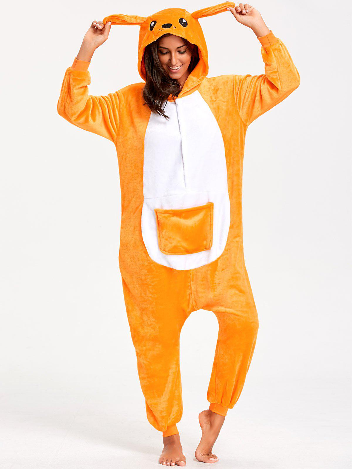 Kangaroo Animal Onesie Pajamas AdultWOMEN<br><br>Size: S; Color: YELLOW; Material: Polyester; Fabric Type: Fleece; Pattern Type: Animal; Weight: 0.4800kg; Package Contents: 1 x Pajama;