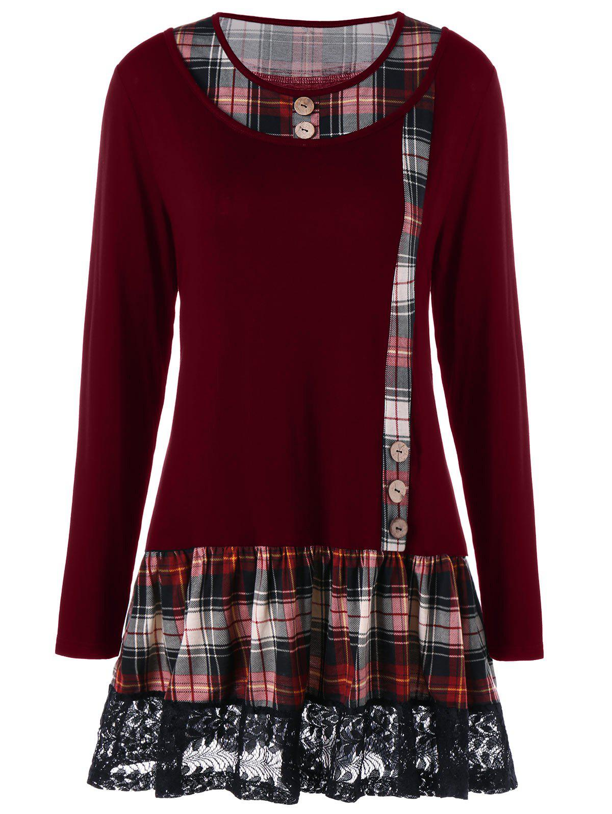 Plus Size Plaid Buttons Lace Panel Long Sleeve T-shirtWOMEN<br><br>Size: XL; Color: WINE RED; Material: Cotton,Polyester; Shirt Length: Long; Sleeve Length: Full; Collar: Scoop Neck; Style: Fashion; Season: Fall,Spring; Embellishment: Button,Lace,Panel; Pattern Type: Plaid; Weight: 0.3300kg; Package Contents: 1 x T-shirt;