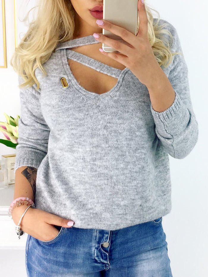 Long Sleeve Front Lace Up SweaterWOMEN<br><br>Size: 2XL; Color: GRAY; Type: Pullovers; Material: Cotton,Polyester; Sleeve Length: Full; Collar: V-Neck; Style: Casual; Pattern Type: Others; Season: Fall,Winter; Weight: 0.2600kg; Package Contents: 1 x Sweater;