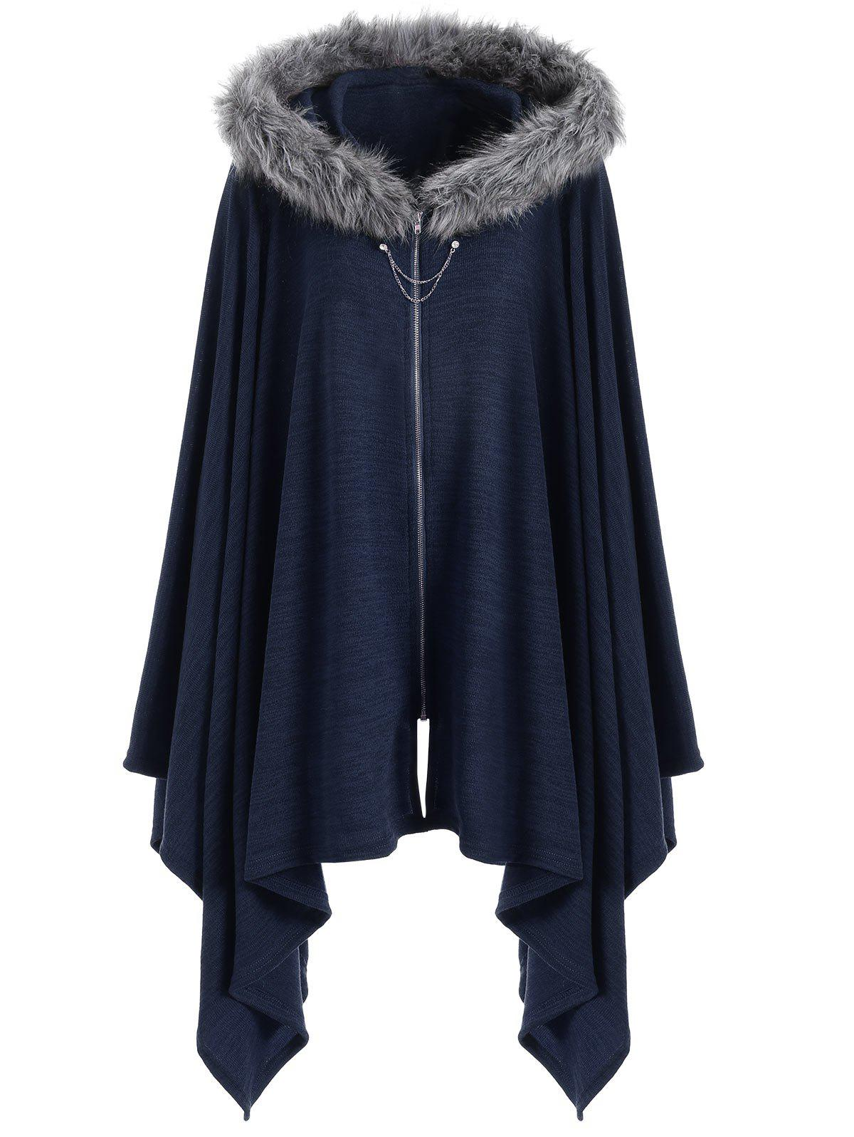 Faux Fur Insert Plus Size Asymmetric Cape CoatWOMEN<br><br>Size: 3XL; Color: BLUE; Clothes Type: Others; Material: Polyester,Spandex; Type: Wide-waisted; Shirt Length: Regular; Sleeve Length: Full; Collar: Hooded; Pattern Type: Solid; Style: Fashion; Season: Fall,Winter; Weight: 0.4700kg; Package Contents: 1 x Coat;