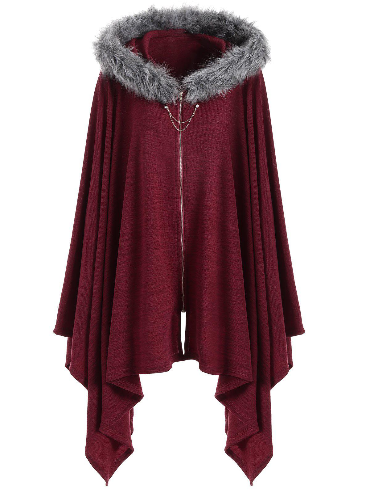 Faux Fur Insert Plus Size Asymmetric Cape CoatWOMEN<br><br>Size: 4XL; Color: WINE RED; Clothes Type: Others; Material: Polyester,Spandex; Type: Wide-waisted; Shirt Length: Regular; Sleeve Length: Full; Collar: Hooded; Pattern Type: Solid; Style: Fashion; Season: Fall,Winter; Weight: 0.4700kg; Package Contents: 1 x Coat;
