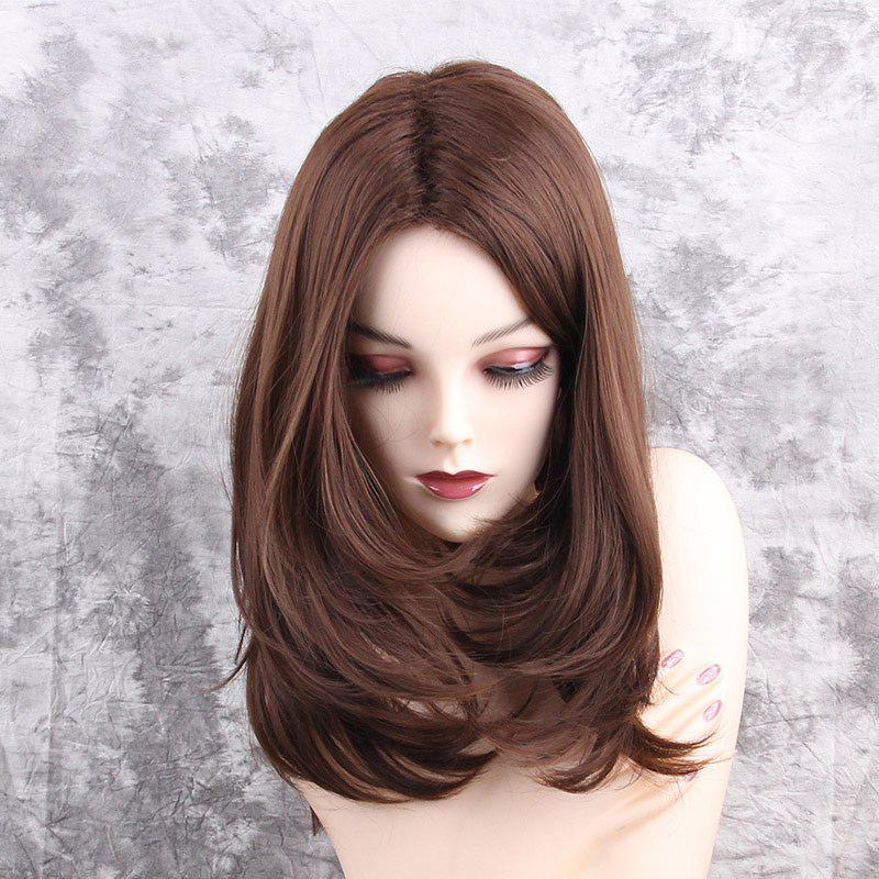 Center Parting Medium Layered Straight Synthetic WigHAIR<br><br>Color: BROWN; Type: Full Wigs; Cap Construction: Capless; Style: Straight; Material: Synthetic Hair; Bang Type: Middle; Length: Medium; Length Size(CM): 42; Weight: 0.2200kg; Package Contents: 1 x Wig;