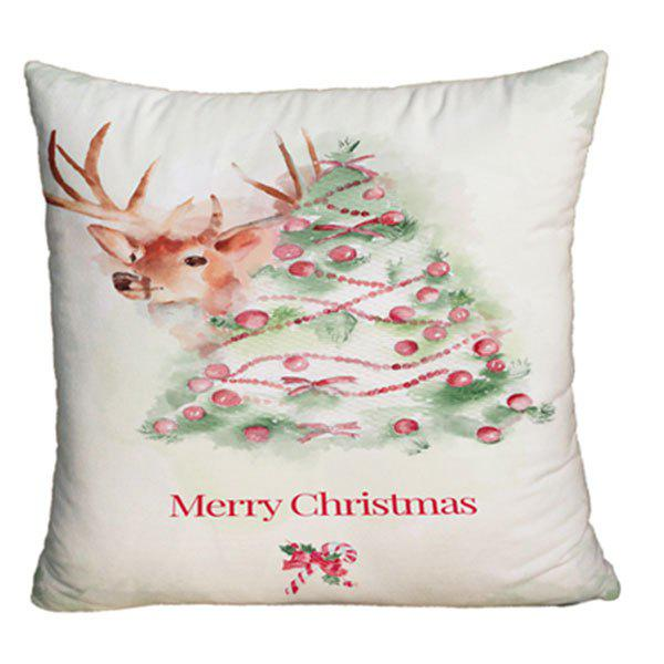 Deer and Christmas Tree Print Decorative Pillow CaseHOME<br><br>Size: W17.5 INCH * L17.5 INCH; Color: WHITE; Material: Polyester / Cotton; Pattern: Animal,Christmas Tree; Style: Festival; Shape: Square; Weight: 0.1000kg; Package Contents: 1 x Pillowcase;