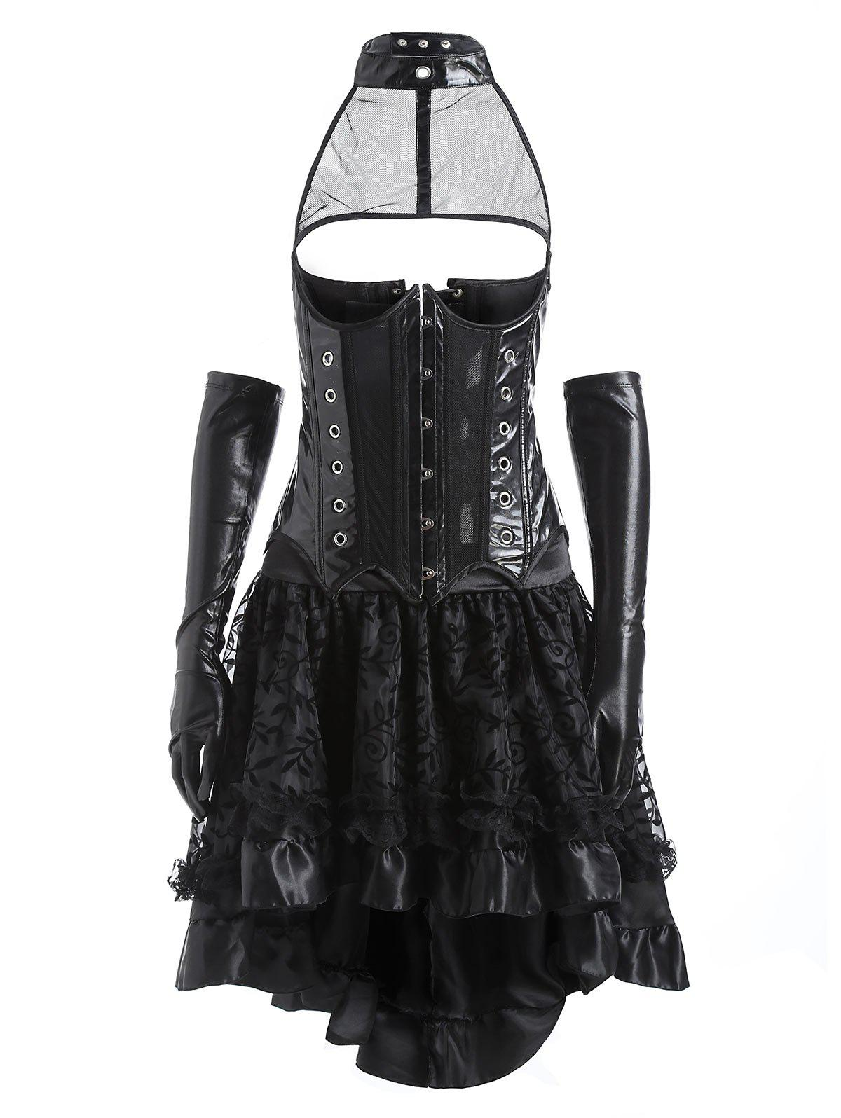 Affordable Two Piece Faux Leather Flounce Corset Dress