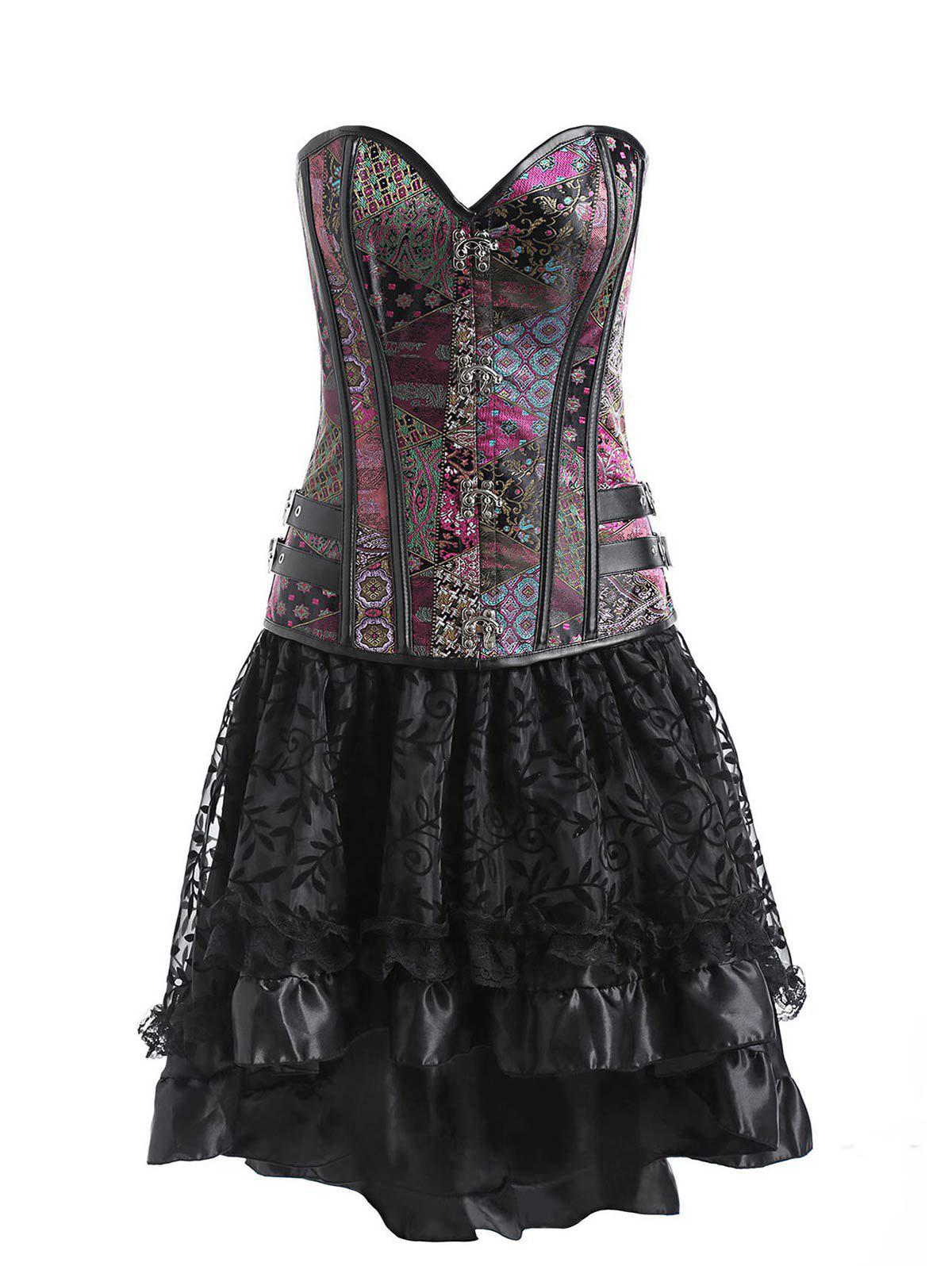 Affordable Two Piece Vintage Brocade Flounce Corset Dress