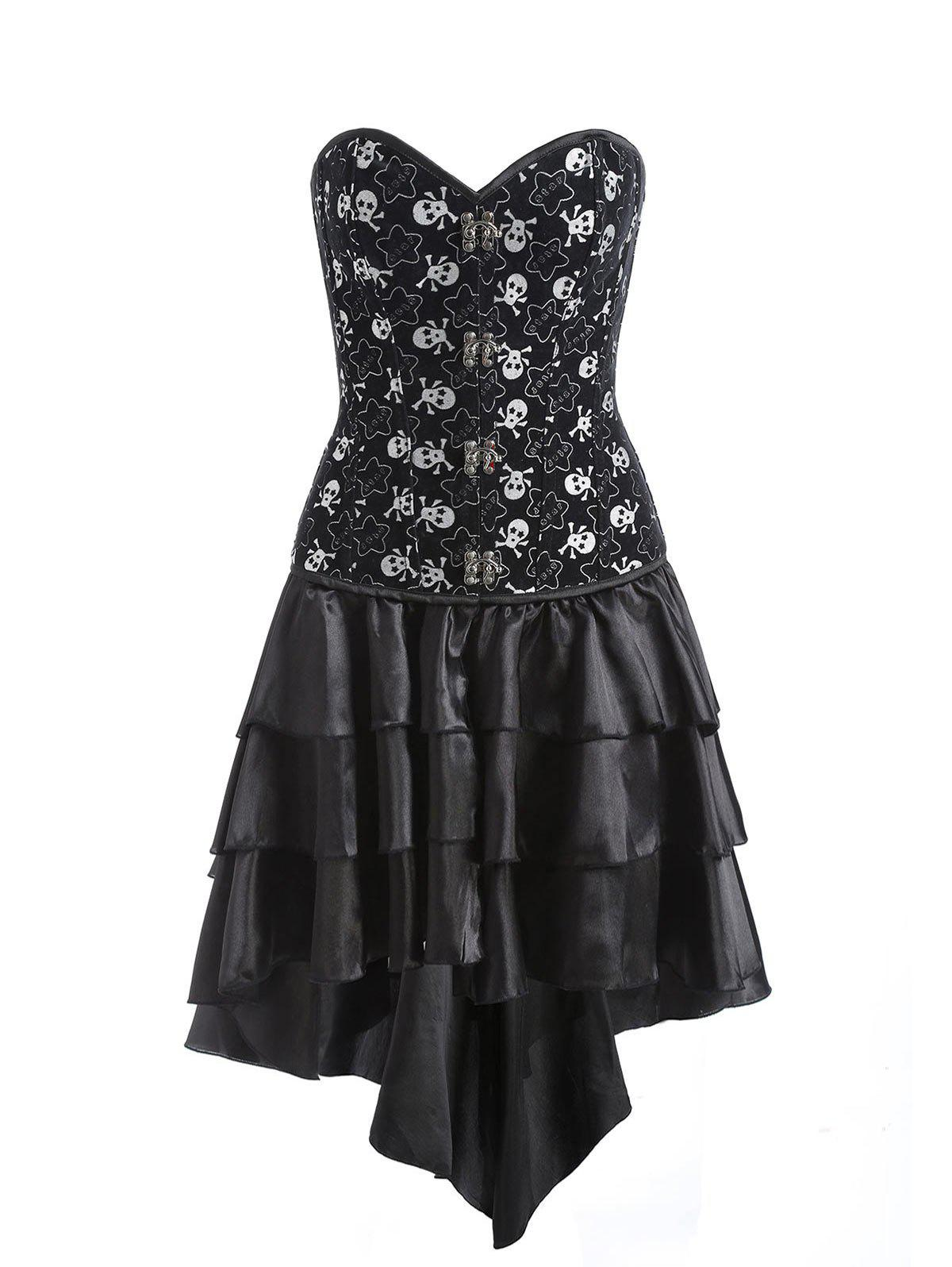 Affordable Tier Flounce Skulls Print Corset Dress