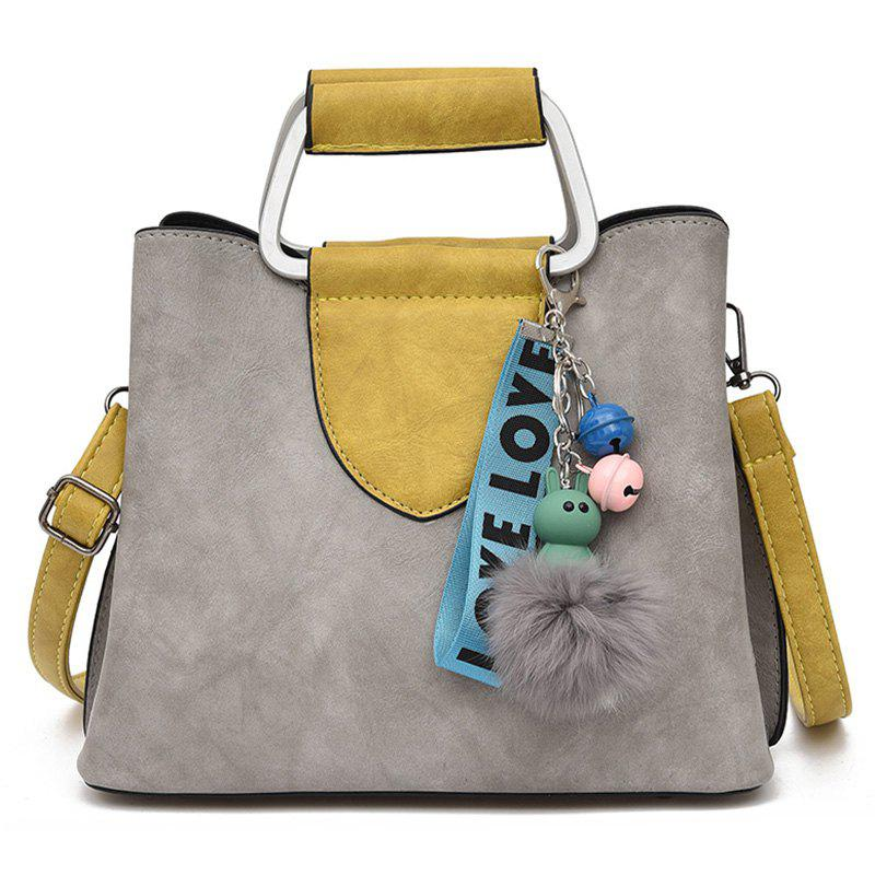 Letter Pompom Color Block HandbagSHOES &amp; BAGS<br><br>Color: GRAY; Handbag Type: Totes; Style: Fashion; Gender: For Women; Pattern Type: Patchwork; Handbag Size: Small(20-30cm); Closure Type: Magnetic Closure; Occasion: Versatile; Main Material: PU; Weight: 0.7000kg; Package Contents: 1 x Handbag;