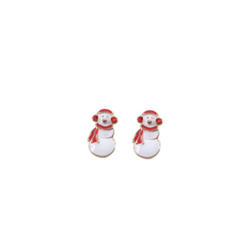 Christmas Cute Snowman Stud EarringsJEWELRY<br><br>Color: WHITE; Earring Type: Stud Earrings; Gender: For Women; Style: Trendy; Shape/Pattern: Round; Length: 1.8CM; Weight: 0.0300kg; Package Contents: 1 x Earring (Pair);