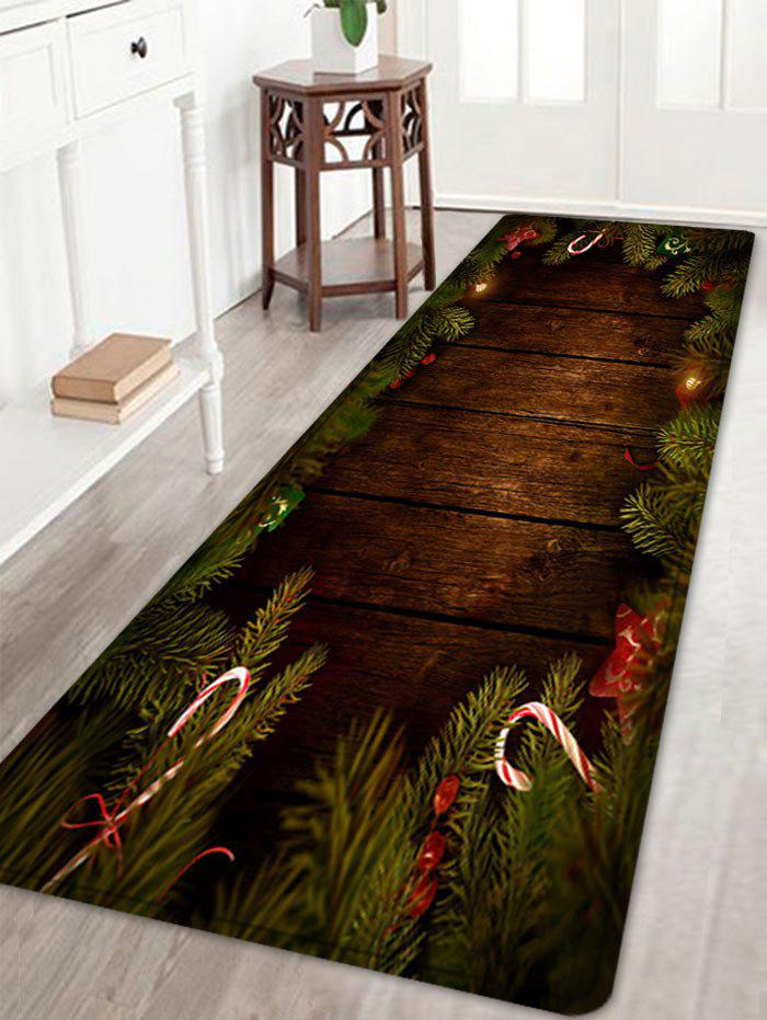 Christmas Tree Woodgrain Pattern Anti-skid Water Absorption Area RugHOME<br><br>Size: W24 INCH * L71 INCH; Color: BROWN; Products Type: Bath rugs; Materials: Flannel; Pattern: Christmas Tree,Wood Grain; Style: Festival; Shape: Rectangle; Package Contents: 1 x Rug;