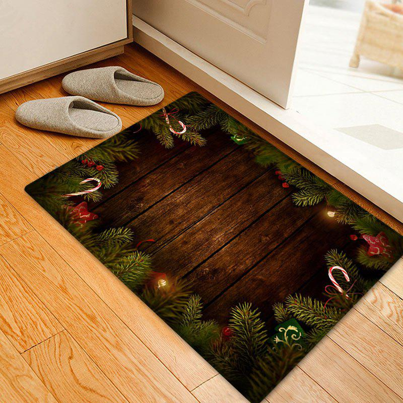 Christmas Tree Woodgrain Pattern Anti-skid Water Absorption Area RugHOME<br><br>Size: W16 INCH * L24 INCH; Color: BROWN; Products Type: Bath rugs; Materials: Flannel; Pattern: Christmas Tree,Wood Grain; Style: Festival; Shape: Rectangle; Package Contents: 1 x Rug;