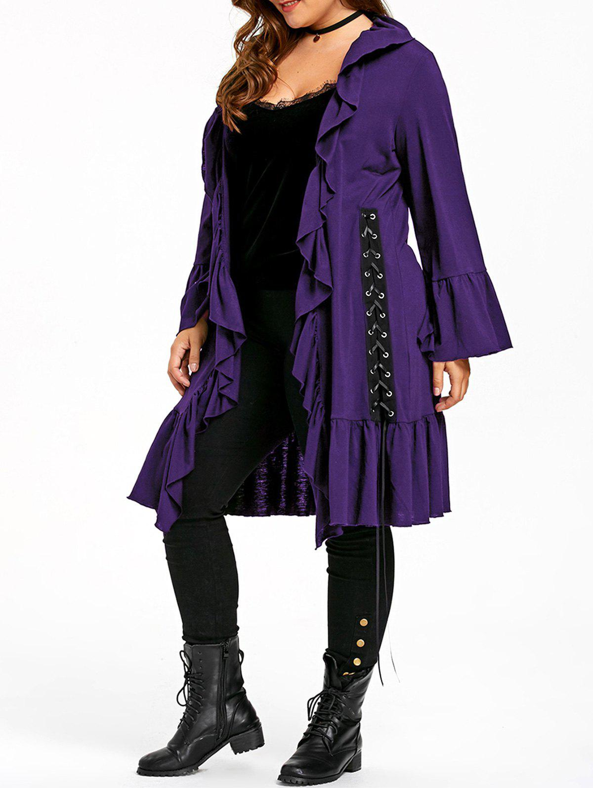 Buy Plus Size Gothic Ruffle Lace Up Coat