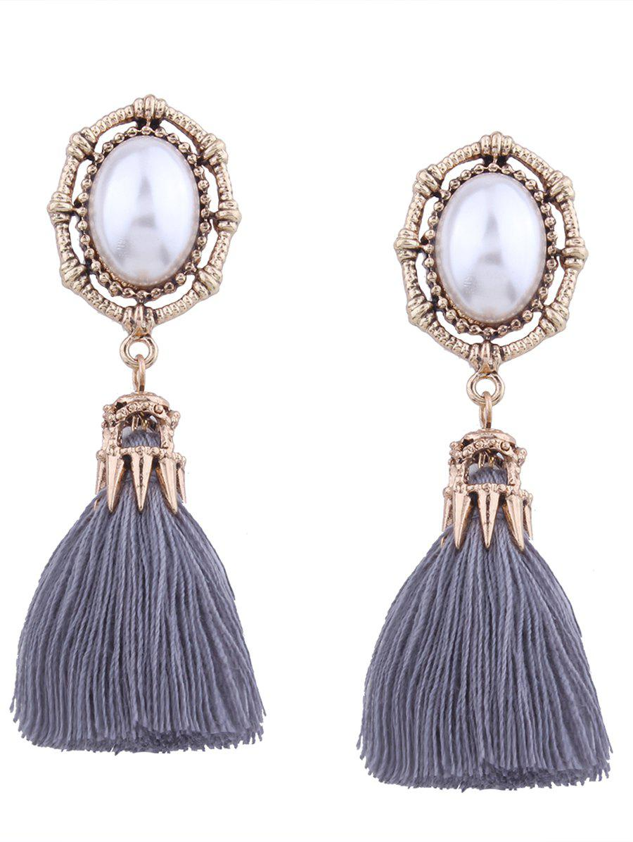 Faux Pearl Oval Tassel Vintage EarringsJEWELRY<br><br>Color: GRAY; Earring Type: Drop Earrings; Gender: For Women; Metal Type: Alloy; Style: Trendy; Shape/Pattern: Tassel; Length: 7.2CM; Weight: 0.0200kg; Package Contents: 1 x Earring (Pair);