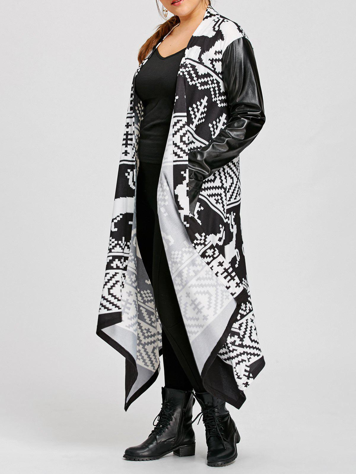 PU Insert Christmas Print Maxi Plus Size CoatWOMEN<br><br>Size: 5XL; Color: WHITE AND BLACK; Clothes Type: Jackets; Material: Acrylic,Polyester; Type: Asymmetric Length; Shirt Length: Long; Sleeve Length: Full; Collar: Collarless; Pattern Type: Patchwork; Style: Fashion; Season: Fall,Spring; Weight: 0.6500kg; Package Contents: 1 x Coat;