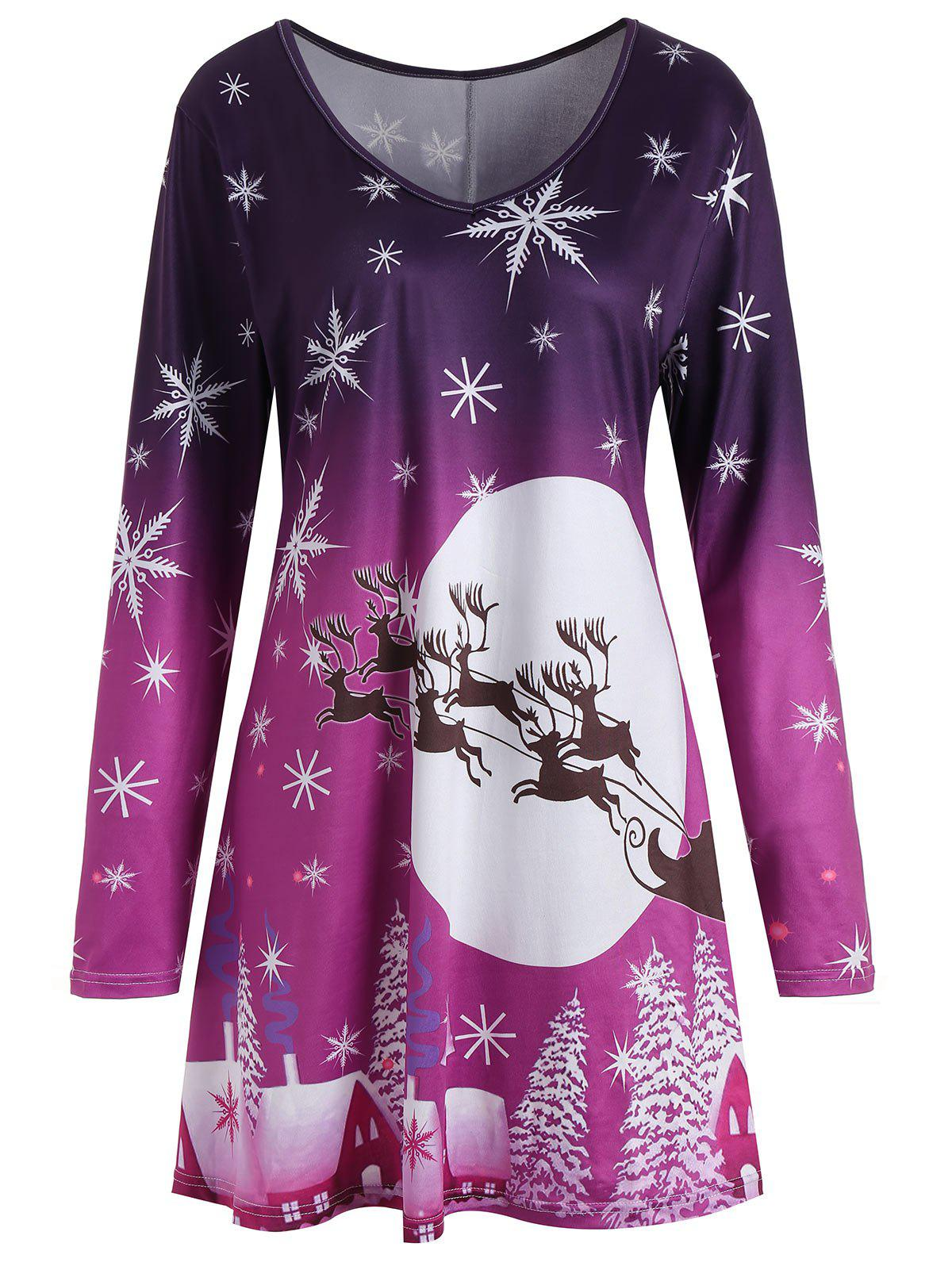 Christmas Snowflake Sled Moon Print Plus Size T Shirt DressWOMEN<br><br>Size: 2XL; Color: PURPLE; Style: Casual; Material: Polyester; Silhouette: A-Line; Dresses Length: Mini; Neckline: V-Neck; Sleeve Length: Long Sleeves; Pattern Type: Animal,Moon,Plant; With Belt: No; Season: Fall,Spring,Winter; Weight: 0.2500kg; Package Contents: 1 x Dress;