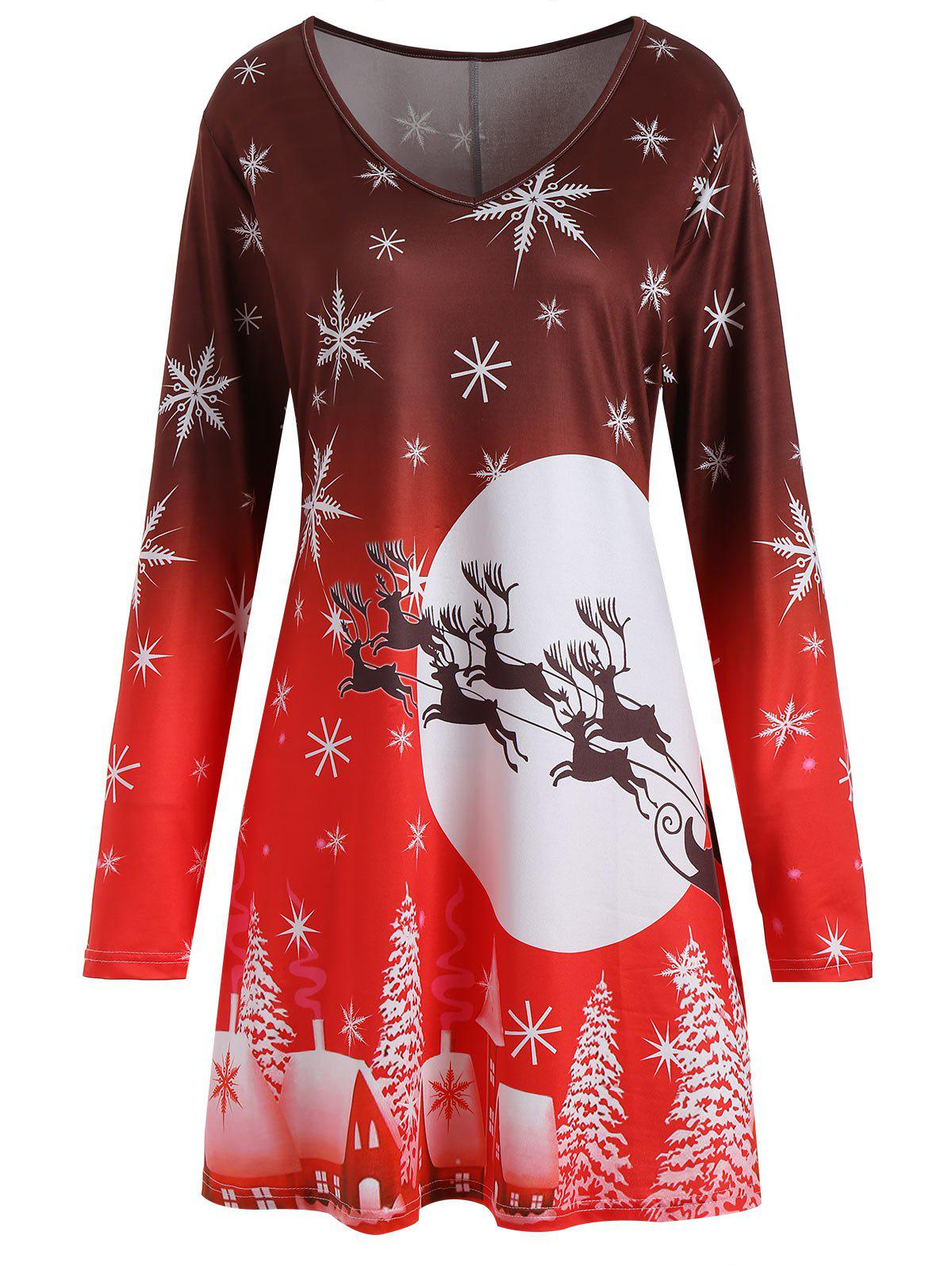 Chic Christmas Snowflake Sled Moon Print Plus Size T Shirt Dress