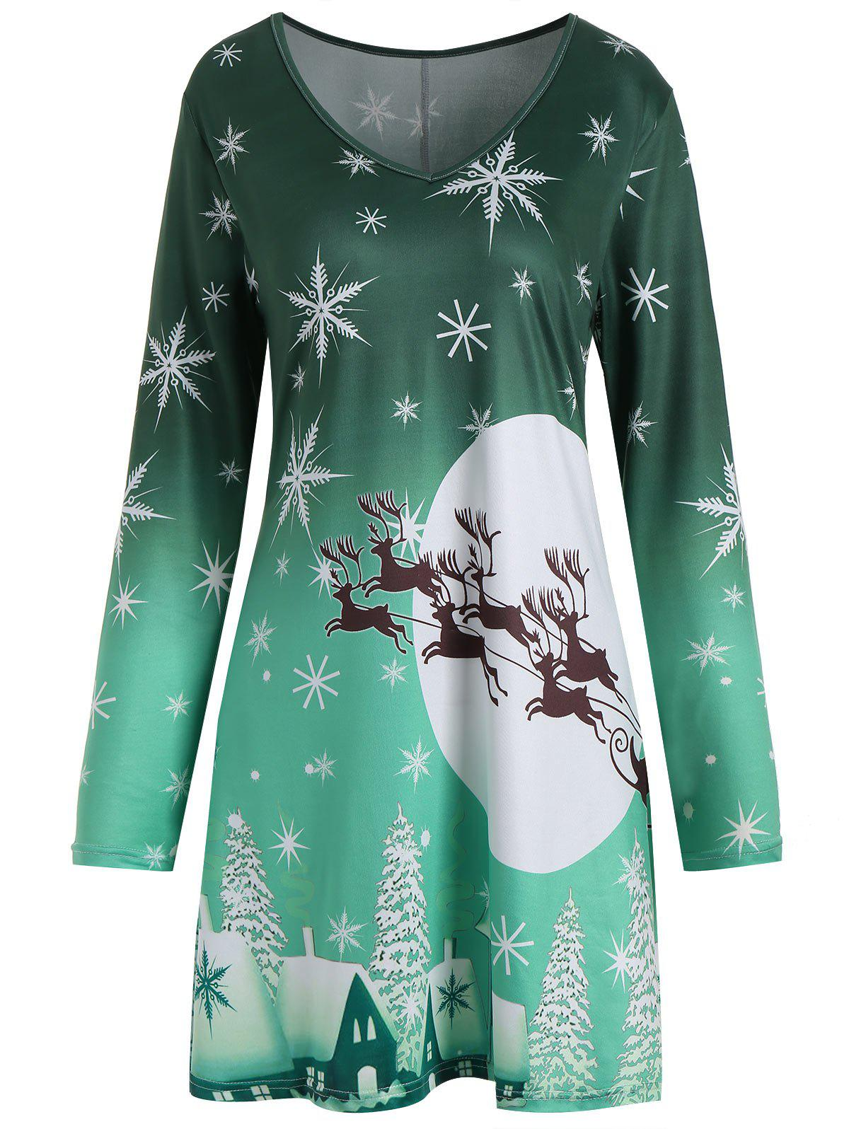 Christmas Snowflake Sled Moon Print Plus Size T Shirt DressWOMEN<br><br>Size: 5XL; Color: GREEN; Style: Casual; Material: Polyester; Silhouette: A-Line; Dresses Length: Mini; Neckline: V-Neck; Sleeve Length: Long Sleeves; Pattern Type: Animal,Moon,Plant; With Belt: No; Season: Fall,Spring,Winter; Weight: 0.2500kg; Package Contents: 1 x Dress;