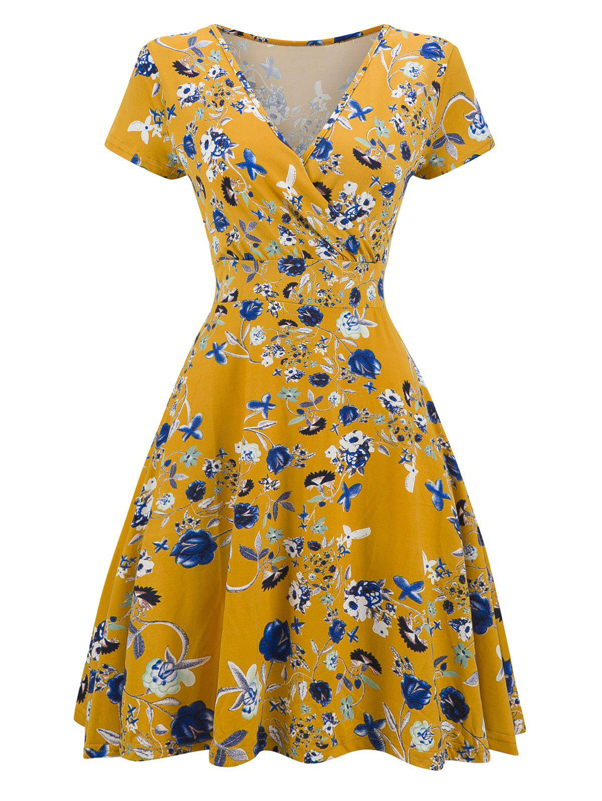 Vintage V Neck Floral Print Mini Surplice DressWOMEN<br><br>Size: XL; Color: YELLOW; Style: Brief; Material: Polyester; Silhouette: A-Line; Dress Type: Surplice Dress; Dresses Length: Mini; Neckline: V-Neck; Sleeve Length: Short Sleeves; Pattern Type: Floral; With Belt: No; Season: Fall,Spring; Weight: 0.3200kg; Package Contents: 1 x Dress;
