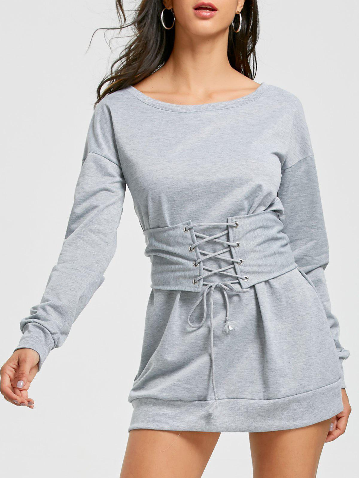 Lace Up Corset Waist Long Sleeve Mini DressWOMEN<br><br>Size: S; Color: GRAY; Style: Casual; Material: Cotton,Polyester; Silhouette: Shift; Dresses Length: Mini; Neckline: Round Collar; Sleeve Length: Long Sleeves; Pattern Type: Solid; With Belt: Yes; Season: Fall,Spring; Weight: 0.3600kg; Package Contents: 1 x Dress   1 x Belt;