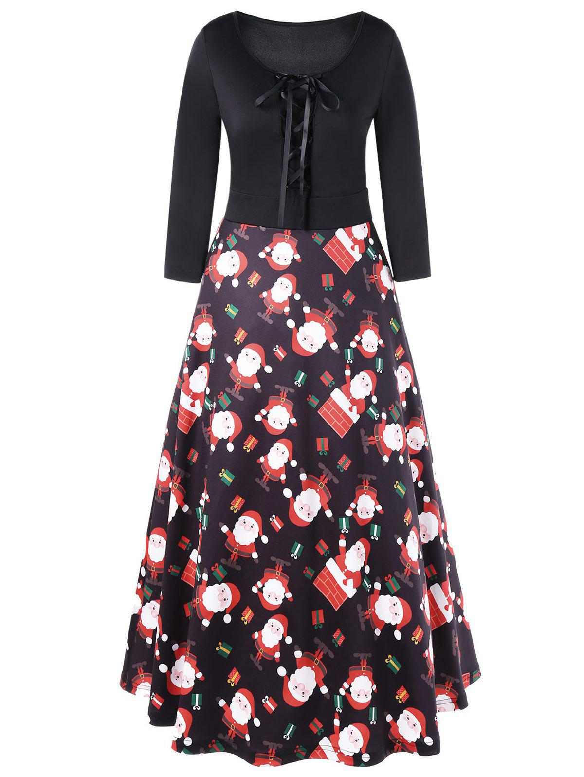 Christmas Lace Up Midi Swing DressWOMEN<br><br>Size: XL; Color: BLACK; Style: Brief; Material: Polyester,Spandex; Silhouette: A-Line; Dresses Length: Mid-Calf; Neckline: Scoop Neck; Sleeve Length: 3/4 Length Sleeves; Pattern Type: Others; With Belt: No; Season: Fall,Spring; Weight: 0.4500kg; Package Contents: 1 x Dress;