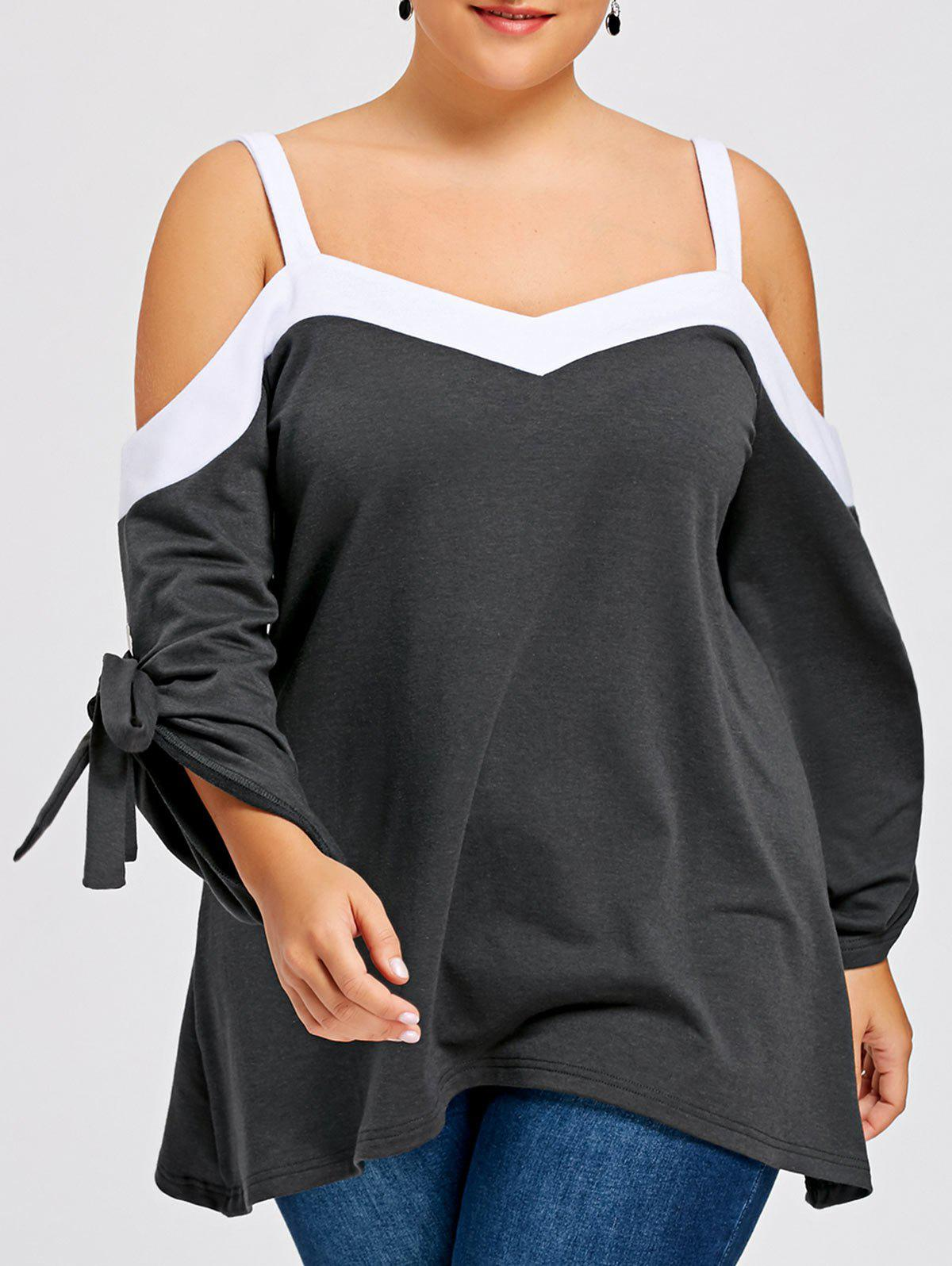 Plus Size Long Sleeve Cold Shoulder BlouseWOMEN<br><br>Size: XL; Color: BLACK GREY; Material: Polyester; Shirt Length: Regular; Sleeve Length: Full; Collar: V-Neck; Style: Fashion; Season: Fall,Spring,Winter; Sleeve Type: Cold Shoulder; Pattern Type: Solid; Weight: 0.4800kg; Package Contents: 1 x Blouse;