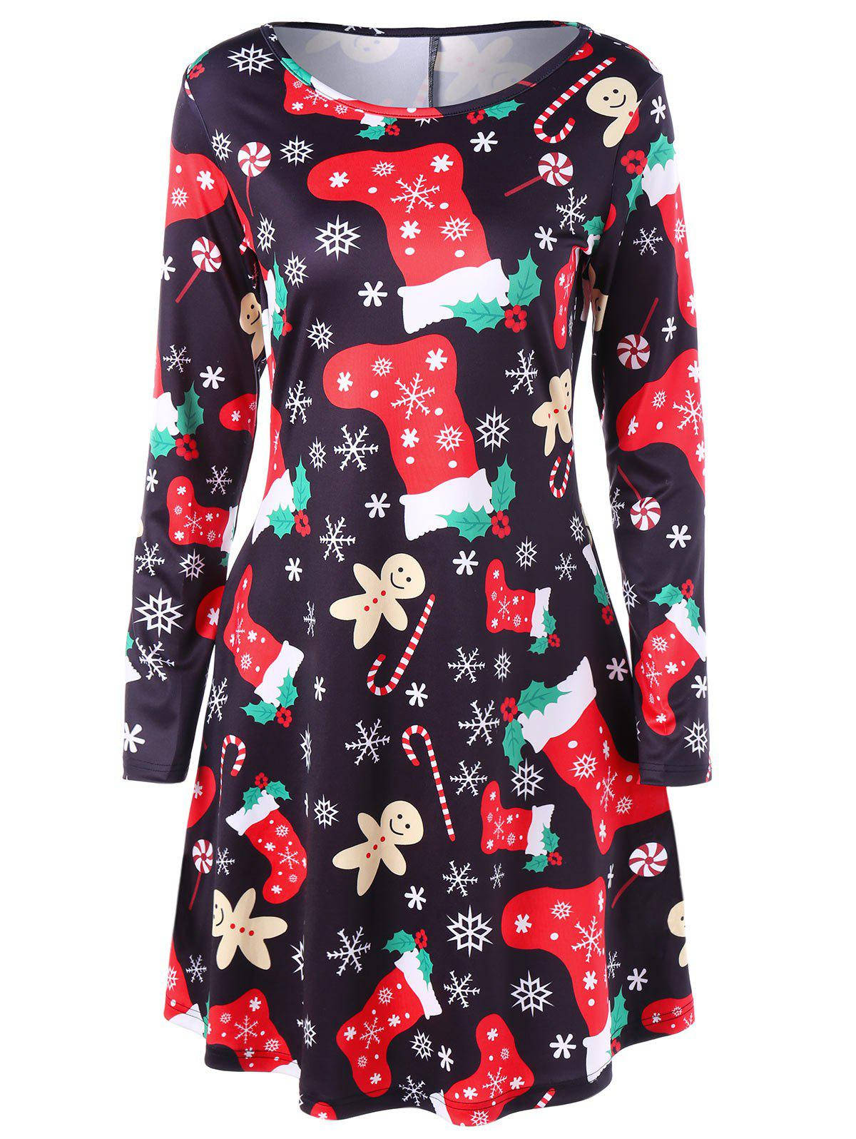 Christmas Long Sleeve Flare DressWOMEN<br><br>Size: M; Color: COLORMIX; Style: Brief; Material: Polyester,Spandex; Silhouette: A-Line; Dresses Length: Mini; Neckline: Round Collar; Sleeve Length: Long Sleeves; Pattern Type: Others; With Belt: No; Season: Fall,Spring; Weight: 0.3500kg; Package Contents: 1 x Dress;