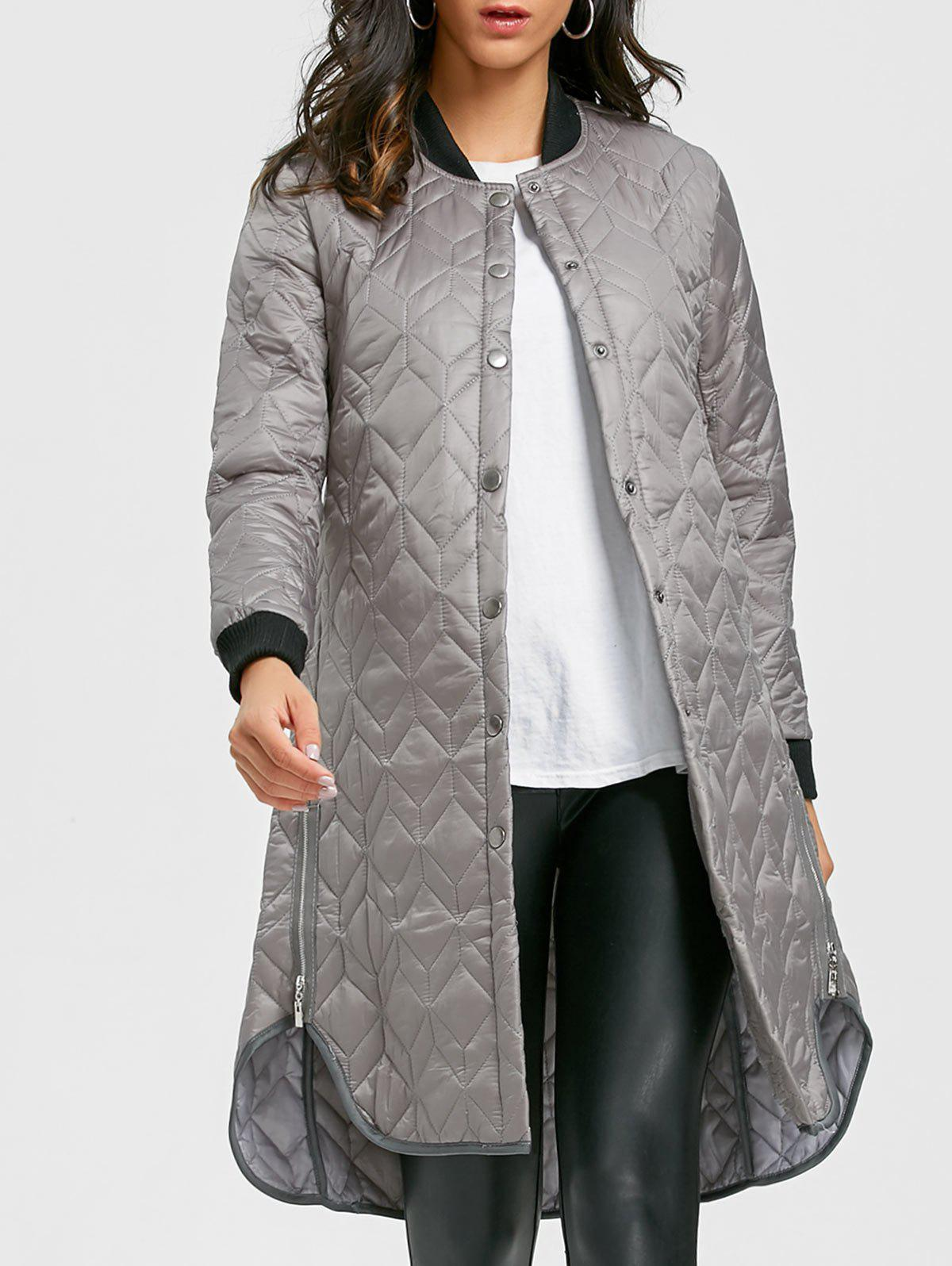 Outfits Side Zips Longline Quilted Coat