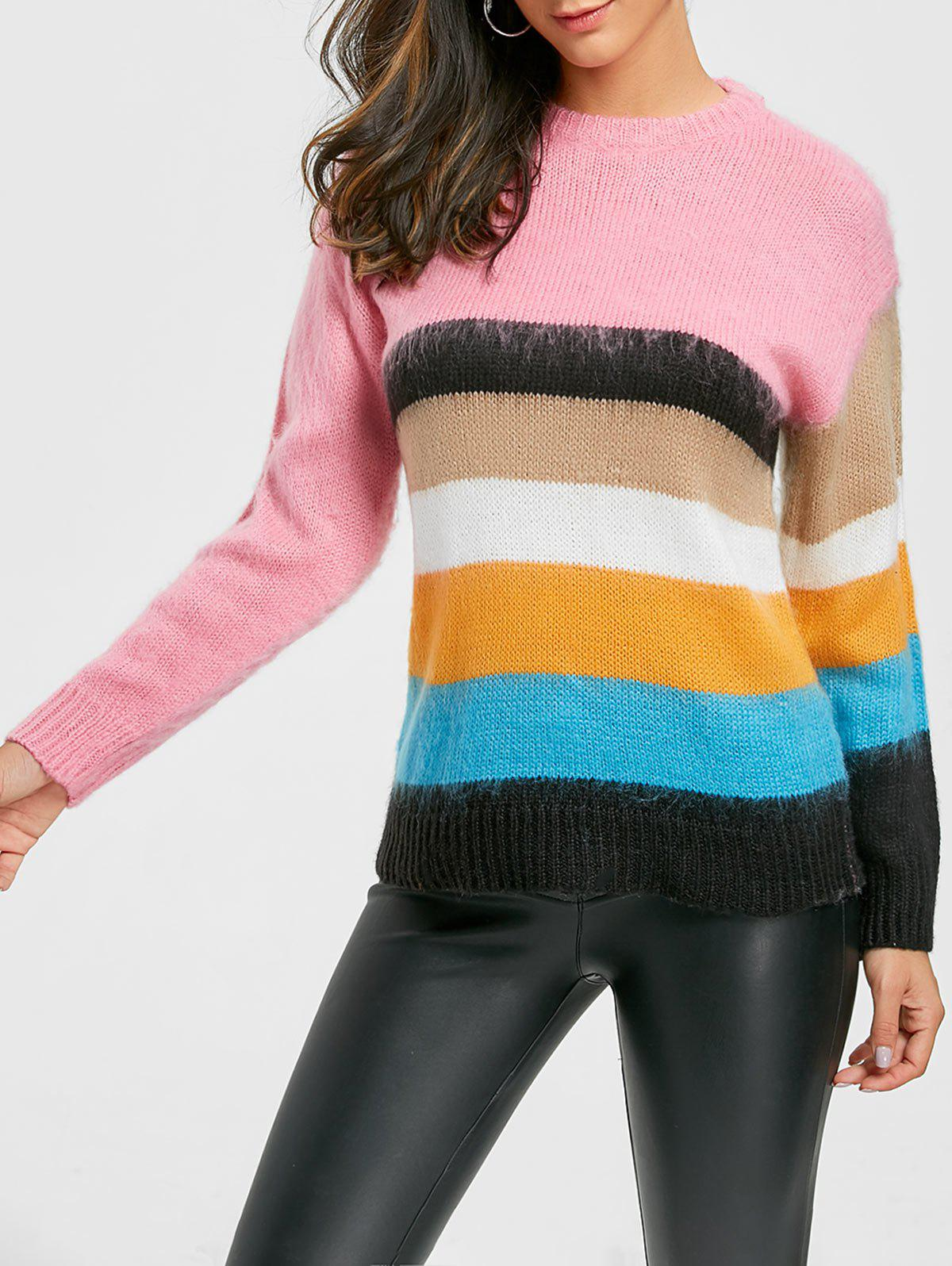 Affordable Rainbow Color Crew Neck Sweater
