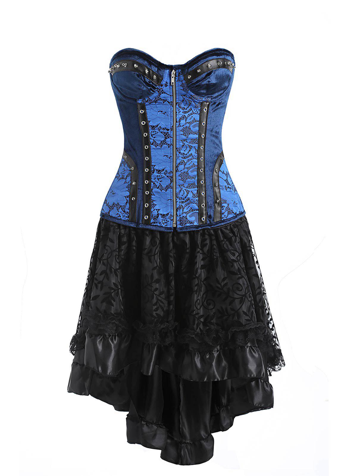 Outfits Lace-up Zip Flounce Two Piece Corset Dress