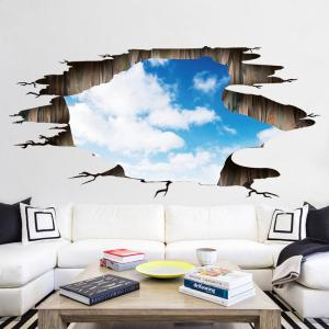 Blue Sky and White Cloud Pattern PVC Removable 3D Floor Wall Decal -