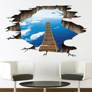 Sky Sea Broken Bridge Pattern PVC 3D Removable Floor Wall Decal -