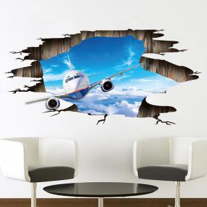 3D Sky Airplane Pattern PVC Removable Floor Wall Sticker -