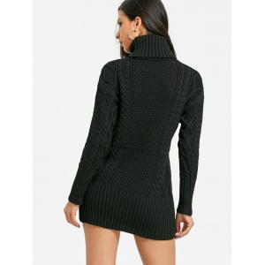 Turtleneck Cut Out Mini Cable Knit Dress -