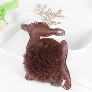 Artificial Leather Christmas Deer Keychain -