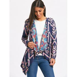 Retro Style Collarless Long Sleeve Loose-Fitting Ethnic Print Women's Cardigan -