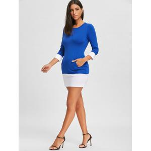 Casual Scoop Neck Color Block Long Sleeve Mini Dress For Women -