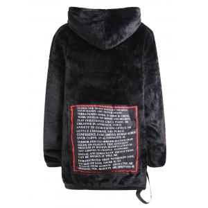 Letter Plus Size Fuzzy Pullover Hoodie -