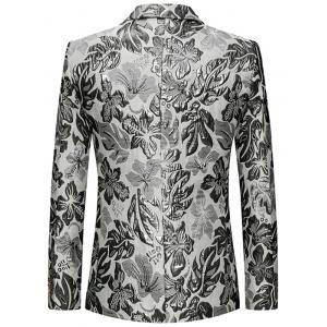 Flap Pockets Single Breasted Floral Blazer -