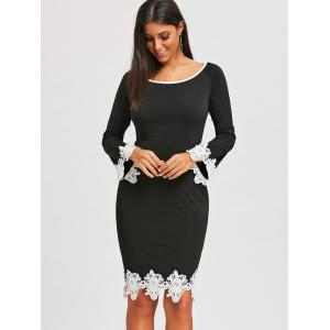 Lace Insert Pencil Dress -