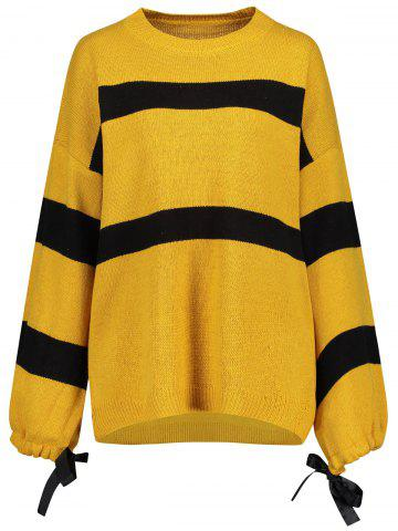 Yellow One Size Plus Size Self Tie Lantern Sleeve Striped Sweater ...