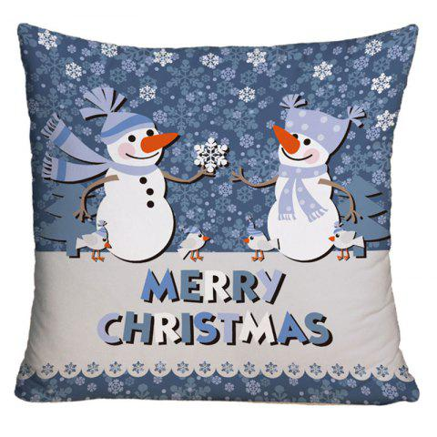 Affordable Two Snowmen Print Decorative Throw Pillow Case