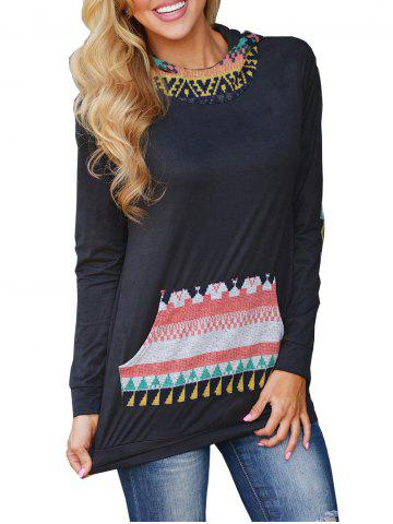 Hooded Long Sleeve Tunic Tee with Pocket