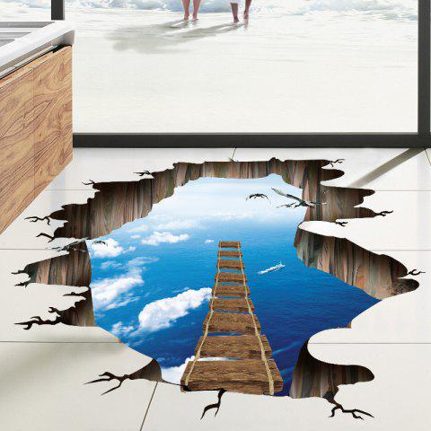Online Sky Sea Broken Bridge Pattern PVC 3D Removable Floor Wall Decal