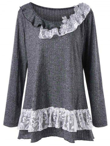 Latest Plus Size Flounced Lace Trim Tunic Top