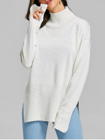 High Neck Side Slit Tunic Sweater