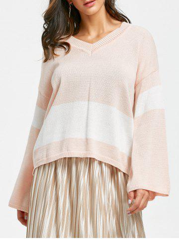 V Neck Color Block Tunic Oversized Sweater